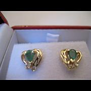 SALE 14kt Emerald Diamond Stud Earrings