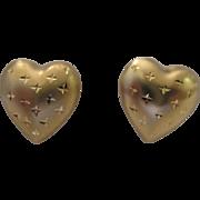 SALE 14kt Puffy Heart Stud Earrings