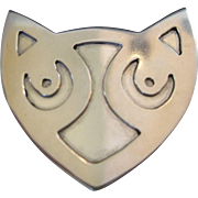 Sterling Cat Face Pin