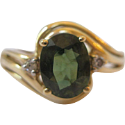 14kt Green Tourmaline Ring Diamond Accents