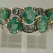 SALE Estate 14kt  Emerald Diamond Band Ring