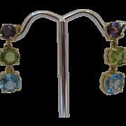 14kt Multi Gemstone Dangle Earrings