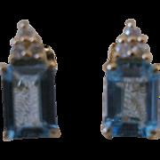 14kt Blue Topaz Diamond Emerald Cut Stud Earrings