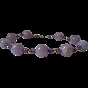 Vintage Lavender Jadeite and Amethyst 14kt Bracelet