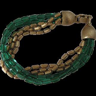 Vintage Napier Green and Antiqued Gold Bead Bracelet
