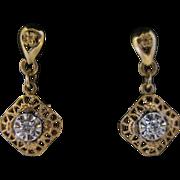14kt Diamond Dangle Filligree Earrings