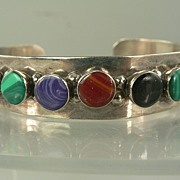 Sterling Silver Bangle w/Semi-precious Stones