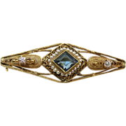 Victorian c. 1880 Gold, Diamond Natural Spinel and Pearl Brooch