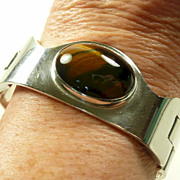Bold Handmade Designer Sterling Puzzle Bracelet w Tiger's Eye