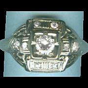Fab Geometric FIligree Style Art Deco Ladies Ring with Diamonds in Gold