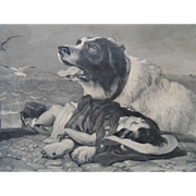 """SALE Antique Engraving """"Saved"""" Dog & Child by Henry Bryan Hall 19c Victorian"""