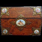 SALE Antique English Burl Walnut Wood Slope Lap Desk Box w/ 5 Cherub Porcelain Plaques ...
