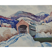 Signed Vintage Watercolor Painting Covered Bridge Winter Landscape