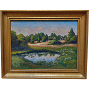 Vintage Summer Landscape Oil on Canvas Painting Signed I. King of Meadow Pond West Barnstable Massachusetts