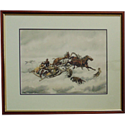 Vintage Russian Cossack Watercolor Painting Signed & Dated w/ Wolves & Horses