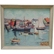 Rockport Massachusetts Oil on Board Painting Harbor Fishing Sailing Boating Summer Scene Cape Ann Signed M. Waters Vintage 1956