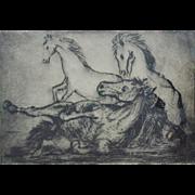 SALE 1961 Horse Horses Etching Signed Richard V. Ellery Listed Artist & Numbered 13/60 Framed