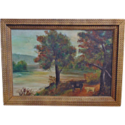 19c Antique Hudson River School Landscape & Animals Oil on Canvas Painting w/ Gilt Wood Frame