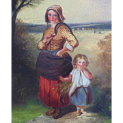 19c Antique Flemish Oil on Canvas Painting Mother & Child Landscape w/ Wood Frame c. 1830-40
