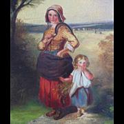 SALE 19c Antique Flemish Oil on Canvas Painting Mother & Child Landscape w/ Wood Frame c ...