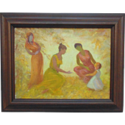 Three Women Mother w/ Child Acrylic Painting on Board Spiritual Signed Ada Rayner (Hensche) Listed Artist Modern Art