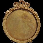 SOLD 19c Antique French Victorian Miniature Round Picture Portrait Frame Gilt Metal w/ Ribbon