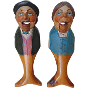 SALE Pair German Nutcrackers His & Hers Antique Figural Carved Wood Nut Cracker Folk Art