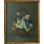 SALE 19c Victorian Pastel Painting Basket of Pansies Flowers Floral Signed T. Bailey w/ Gilt W