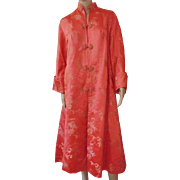 SALE Vintage 1930s-40s Womens Ladies Chinese Silk Embroidered Robe Coat Kimono Salmon