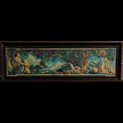 SALE Rare LARGE Maxfield Parrish The Rubaiyat Print Art Deco Print & Original Frame c. 1917