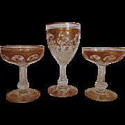 SALE 3 Antique Gilt Champagne & Wine Glasses Cut Glass Stems Goblet Gold