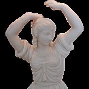 SALE Antique Neo-Classical Parian Dancing Woman Sculpture Lamp