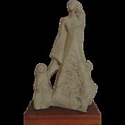 SALE Vintage Austin Modern Sculpture Statue Mother w/ Children Boy & Girl Signed Le Clerc c. 1