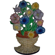 SOLD Hubley #470 Doorstop Petunias & Asters Flower Basket Floral Cast-Iron Door Stop