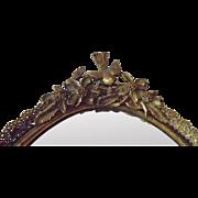 SALE Vintage Brass Mirror Dresser Vanity Tray w/ Birds & Flowers