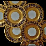 SALE 8 Antique Crown Staffordshire Presentation Dinner  Cabinet Plates Cobalt Blue Gold ...