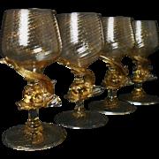 SALE 4 Antique Murano Venetian Wine Glasses Dolphin Stems Gold Flecked Glass Italian Goblets .