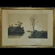 SALE Antique Landscape Etching Charles Klackner copyrighted 1888