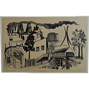 SALE Bethlehem Charcoal Drawing Print Artist's Proof Signed Bristol 1970