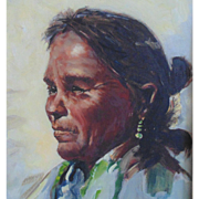 Navajo Native American Indian Woman Portrait Oil Painting Signed J. Pinel