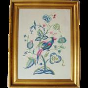 SALE Crewel Stitch Needlework Folk Art Bird of Paradise Tree of Life in Gilt Wood Frame