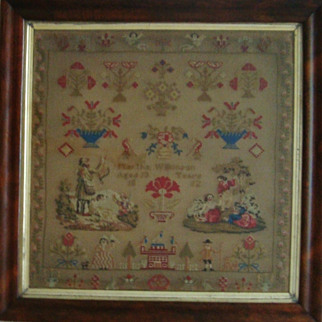 SALE LARGE Antique Victorian Sampler c. 1852 Needlepoint MUSEUM QUALITY Martha Wilkinson Aged 13
