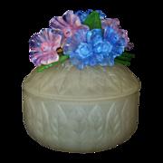 SALE Vintage Murano Venetian Satin Glass Dresser Vanity Powder Jar or Trinket Jewelry Box w/ G