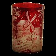 SALE Czechoslovakia Bohemian Ruby Red Glass Windmill Czech