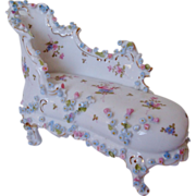 SALE Miniature Doll House Furniture Chaise Lounge Chair w/ Roses Antique German Porcelain Vict