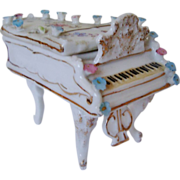 SALE Miniature Doll House Furniture Grand Piano w/ Roses Antique German Porcelain Victorian Fl