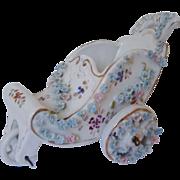 SALE Miniature Doll House Push Cart w/ Roses Antique German Porcelain Victorian Flowers Floral