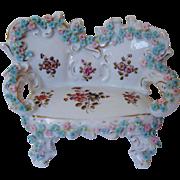 SALE Miniature Doll House Furniture Sofa Settee w/ Roses Antique German Porcelain Victorian Fl