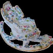 SALE Miniature Doll House Furniture Rocking Chair w/ Roses Antique German Porcelain Victorian