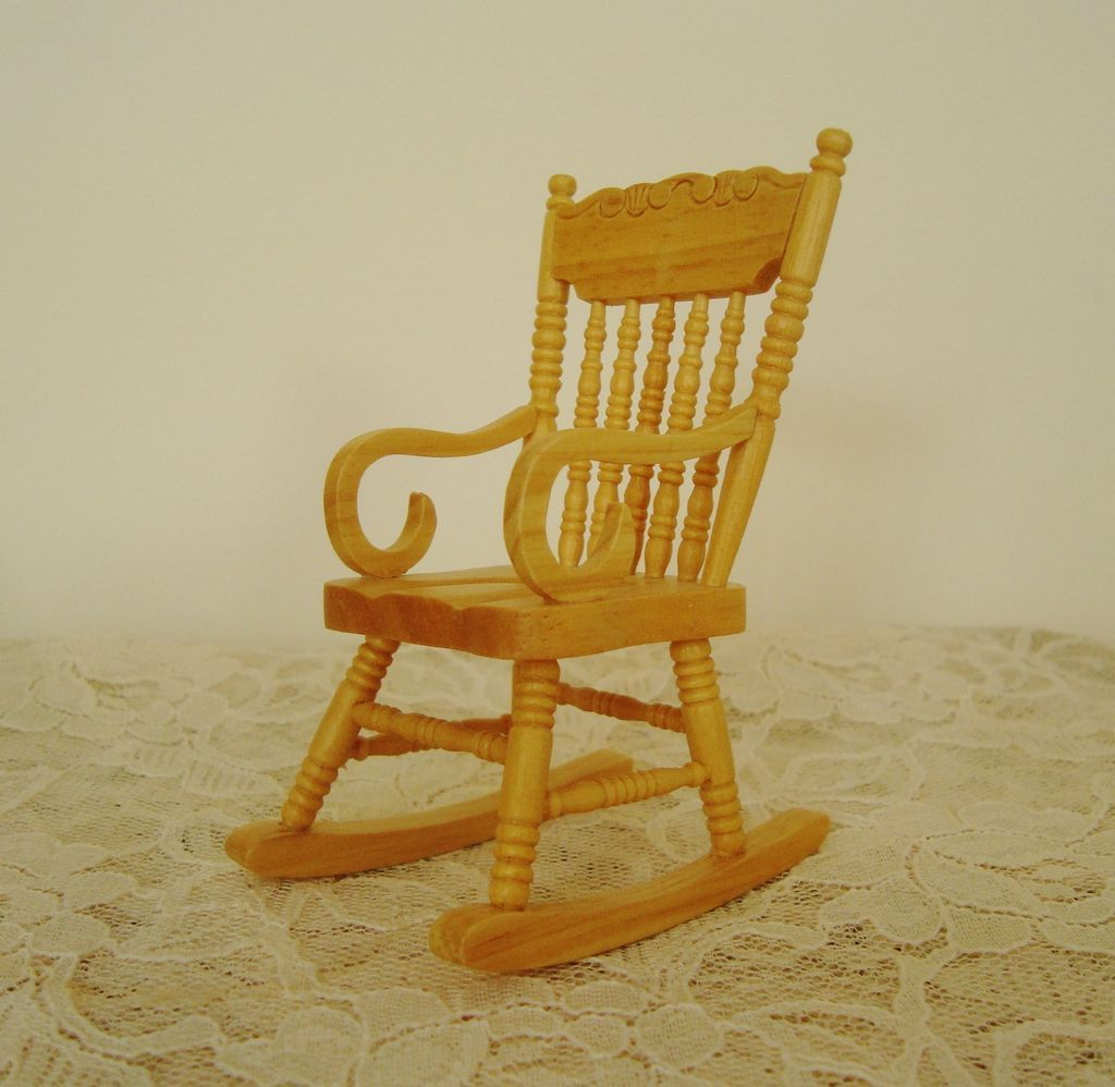 Miniature Rocking Chair Dollhouse Wood Furniture Rocker Doll House ...